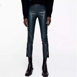NWT ZARA High Rise Leather Leggings